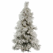Flocked Pocono 7.5' White Pine Artificial Christmas Tree with 650 LED White Lights