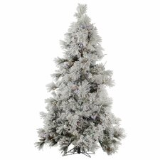 Flocked Pocono 7.5' White Pine Artificial Christmas Tree with 650 LED Multi-Colored Lights
