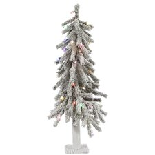Flocked Alpine 3' White Artificial Christmas Tree with 50 LED Multi-Colored Lights with Stand