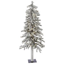 Flocked Alpine 4' White Artificial Christmas Tree with 100 LED White Lights with Stand