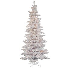 Flocked White Spruce 9' Artificial Christmas Tree with 550 Dura-Lit Clear Lights with Stand