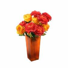 Floral Roses and Ranunculus in Tangerine Vase
