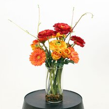 Floral Roses and Ranunculus in Glass Cylinder