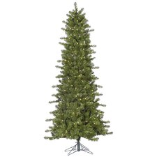 Ontario Slim 7.5' Green Spruce Artificial Christmas Tree with 500 LED Clear Lights with Stand