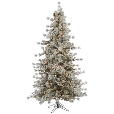 Flocked Anchorage 7.5' Grey Artificial Christmas Tree with 600 Dura-Lit Clear Lights with Stand