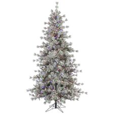 Flocked Anchorage 6.5' Grey Artificial Christmas Tree with 450 LED Multi-Colored Lights with Stand
