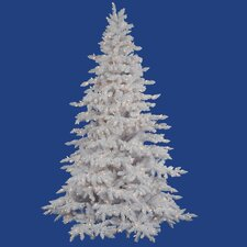 Flocked 9' White Spruce Artificial Christmas Tree with 1200 Dura-Lit Clear Lights with Stand