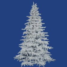 Flocked 10' White Spruce Artificial Christmas Tree with Unlit with Stand
