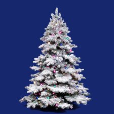 Flocked Alaskan 9' White Artificial Christmas Tree with 1200 Dura-Li Multi-Colored Lights with Stand