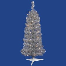 Colorful 2' Silver Artificial Christmas Tree with 35 Clear Lights