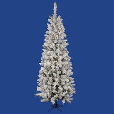 Flocked Pacific Pine 6.5' White Artificial Pencil Christmas Tree with 220 Multicolored LED Lights with Stand