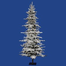 Flocked Georian Fir 9' Green Artificial Christmas Tree with 450 LED Lights with Rolling Stand