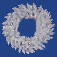 "Crystal White Spruce 72"" Wreath with Clear Lights"