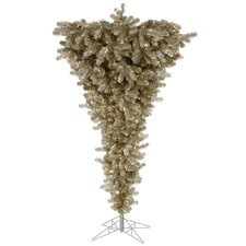 Upside Down 7.5' Champange Artificial Christmas Tree with 500 Clear Lights with Stand