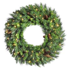 "Cheyenne Pine 84"" Cheyenne Wreath with Clear Lights"
