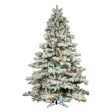 Flocked Alaskan 9' White Artificial Christmas Tree with 900 Dura-Lit and G50 Multi-Colored Lights with Stand