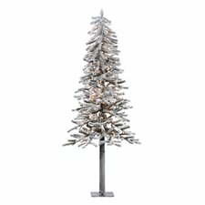 Flocked Alpine 7' White Artificial Christmas Tree with 300 Clear Lights