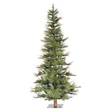 Ashland Wood Trunk Tree with Tips An 5' Green Fir Artificial Christmas Tree with Unlit with Stand