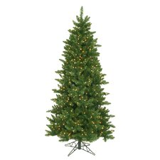 Camdon Fir 6.5' Green Artificial Slim Christmas Tree with 550 Clear Lights with Stand