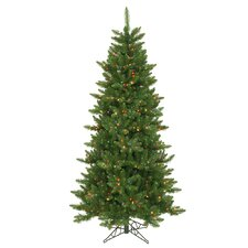Camdon Fir 6.5' Green Artificial Slim Christmas Tree with 550 Multicolored Lights with Stand