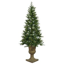 Oneco Pine 7.5' Half Potted Artificial Christmas Tree with Clear Lights