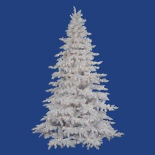 <strong>Vickerman Co.</strong> Flocked White Spruce 7.5' Artificial Christmas Tree with 650 LED Warm White Lights with Stand