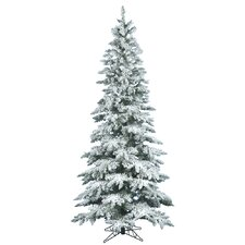"Flocked Utica Fir 6' 6"" White Artificial Christmas Tree with Stand"