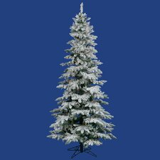 Flocked Utica Fir 6.5' White Artificial Christmas Tree with 300 Multicolored Lights with Stand