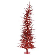 Colorful Laser 6' Red Artificial Christmas Tree with 150 Lights