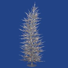 Colorful Laser 4' Silver Artificial Christmas Tree with 70 Clear Lights