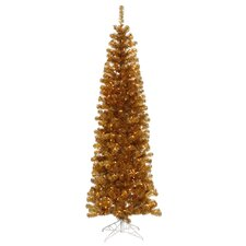 "5' 6"" Antique Gold Artificial Pencil Christmas Tree with 250 Clear Mini Lights"