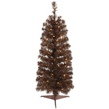<strong>Vickerman Co.</strong> 4.5' Mocha Artificial Pencil Christmas Tree with 150 Clear Mini Lights