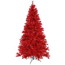 8' Red Artificial Christmas Tree with 600 Red Mini Lights with Stand