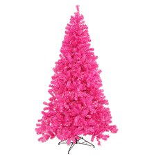 7' Pink Artificial Christmas Tree with 500 Pink Mini Lights with Stand