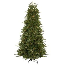 Vermont Instant Shape 7.5' Green Artificial Christmas Tree with 700 Clear Dura-Lit Mini Lights eith Stand