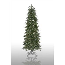 Redwood 7.5' Green Slim Artificial Christmas Tree with 300 Pre-Lit Multicolored Lights with Stand