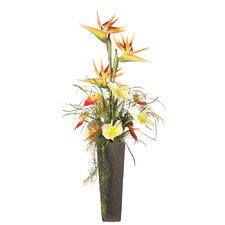 "Floral 40"" Artificial Potted Tropical Flowers in Multicolor"