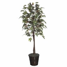 Economy 6' Artificial Potted Natural Frosted Maple Tree in Multicolor