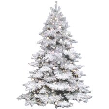 Flocked Alaskan 4.5' White Artificial Christmas Tree with 300 Clear Lights