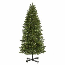 Grand Teton 7.5' Slim Green Artificial Christmas Tree with 650 LED White Lights