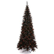 "5' 6"" Black Slim Fir Artificial Christmas Tree with 300 Mini Orange Lights"