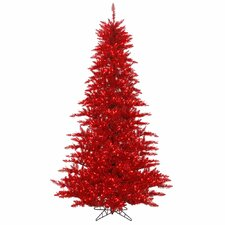 "4' 6"" Tinsel Red Fir Artificial Christmas Tree with 250 Mini Lights"