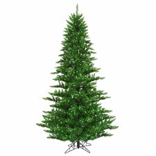 6.5' Tinsel Green Fir Artificial Christmas Tree with 600 Mini Clear Lights