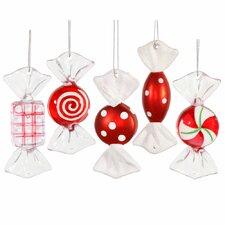 5 Piece Candy Cane Ornament Set