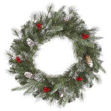 Frosted Pine Berry Wreath with 50 Lights