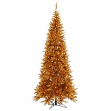 6.5' Copper Slim Fir Artificial Christmas Tree with 400 Mini Clear Lights