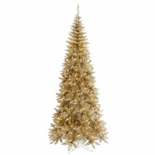 9' Champagne Slim Fir Artificial Christmas Tree with 700 Mini Clear Lights
