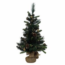 Glitter Mixed Pine Table Top Tree with 35 Lights