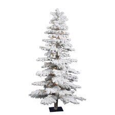 <strong>Vickerman Co.</strong> 7' White Idaho Spruce Artificial Christmas Tree with 300 Dura-Lit Clear Lights and Flocked