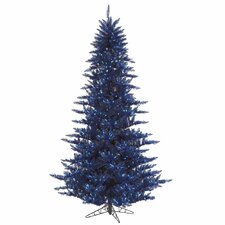 6.5' Navy Blue Fir Artificial Christmas Tree with 600 Mini Clear Lights